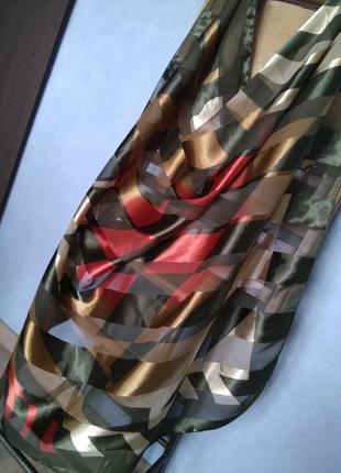 Эффектный двухсторонний платок шарф в полупрозрачную полоску м...