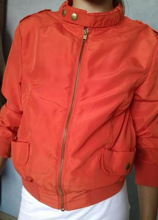 Яркая мандариновая ветровка курточка куртка h&m/34 размер/бомбер