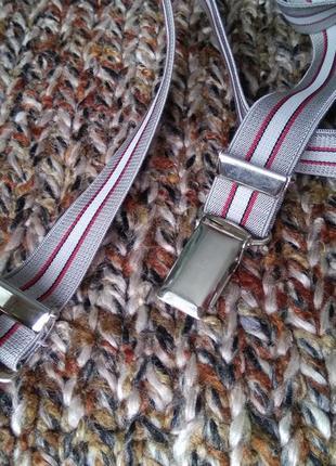 Элегантные подтяжки для брюк серо-бежевые