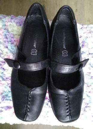 Удобные туфли натуральная кожа чёрные ортопедическая стелька