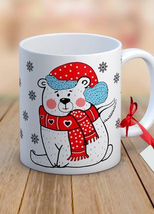 Дизайнерская чашка - Новогодняя с мишкой