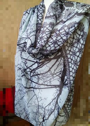 Шикарный палантин 2020 шарф платок цвет минт принт деревья кру...