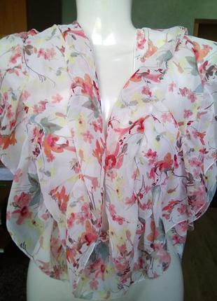 Романтичный шарф платок палантин на резиночках цветочный принт