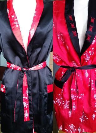 Шикарный двухсторонний атласный халат кимоно с вышивкой