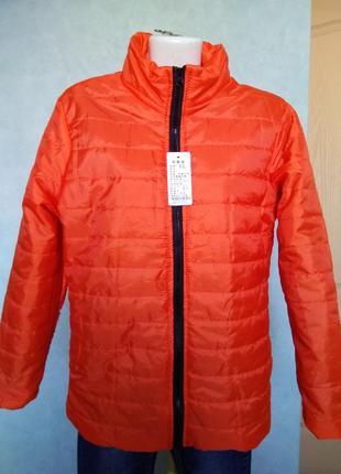Модная воздушная деми куртка на синтепоне оранжевая курточка п...