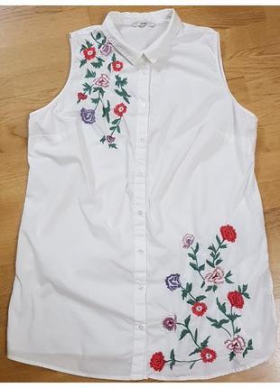 Натуральная блуза с вышивкой большого размера george