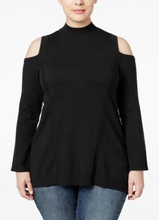 Свитер пуловер базовый с вырезами по плечам и не высокой стойк...