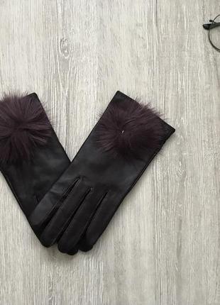 Перчатки кожаные с мехом avenue