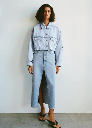 Укорочена джинсовая куртка оверсайз zara