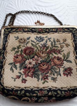 Винтажная маленькая сумка-кошелек на цепочке гобелен