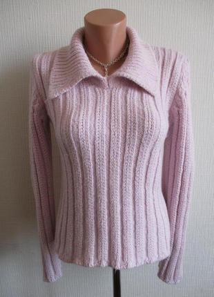 Теплый вязаный свитер нежного розового цвета alan