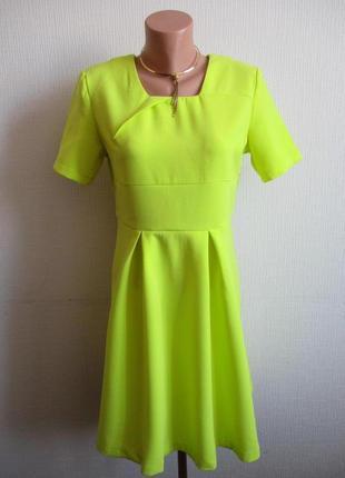 Яркое лимонное фактурное платье collection london