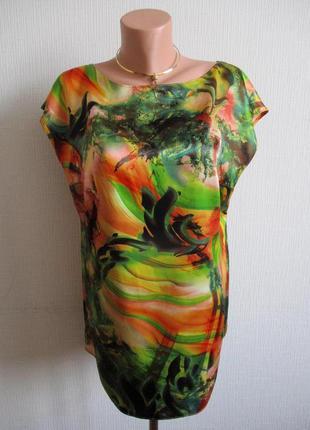 Зеленая атласная блуза в принт