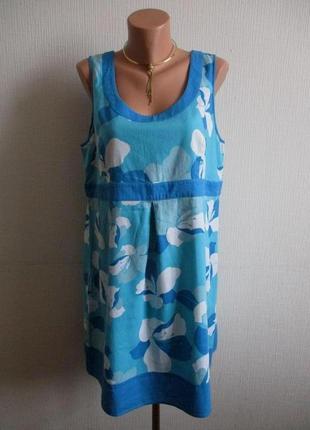Натуральное льняное платье в цветочный принт papaya