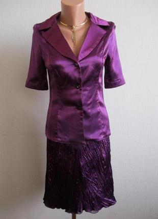 Атласный костюм с юбкой плиссе katrina