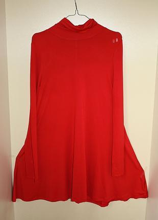 Красное платье-трапеция с горлом с рукавами shein рр л (к050)