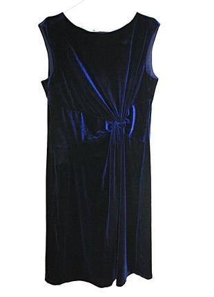 Велюровое темно-синее платье с узлом велюр вечернее на выпускной