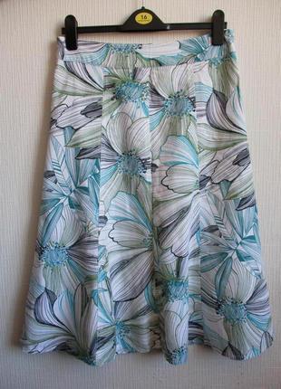 Льняная юбка в цветочный принт mia mode
