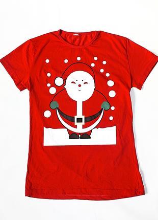 Красная новогодняя футболка\ натуральная\Санта Клаус\Дед Мороз