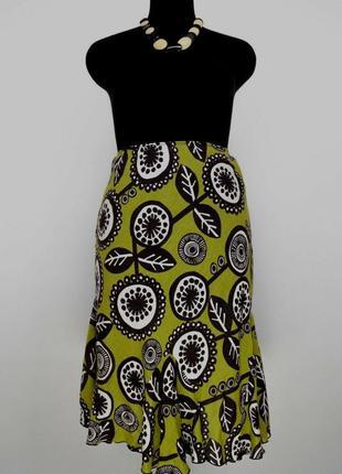 Льняная юбка 100% лен цветочный принт hobbs