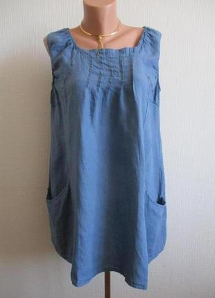 Льняная удлиненная блуза-туника miss sugar италия