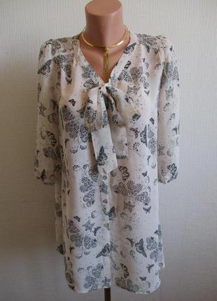 Шифоновая блуза принт бабочки с длинным рукавом new look