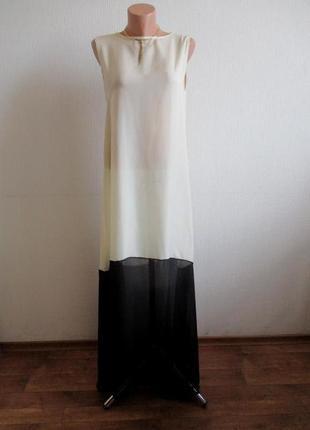 Бежево-черное пляжное длинное макси платье в пол