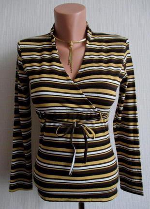 Трикотажная блузка-футболка с длинным рукавом в полоску angie