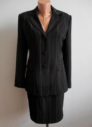 Костюм тройка в полоску: пиджак, юбка, брюки