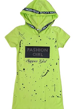 Платье туника для девочки с капюшоном. турцн