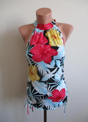 Трикотажная блуза без рукавов в цветочный принт, подарю при по...
