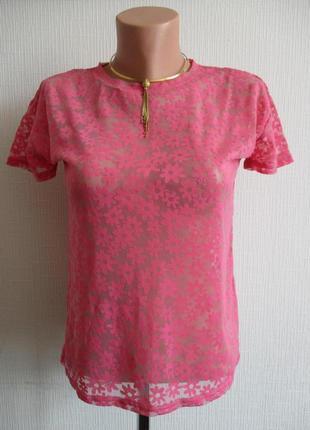 Розовая кружевная футболка, подарю при покупке любой вещи