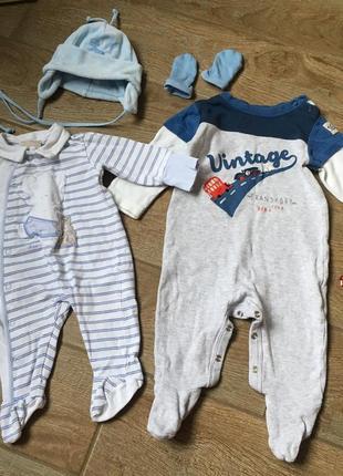 Набор одежды 2 человечка, 0-6месяцев chicco, mothercare