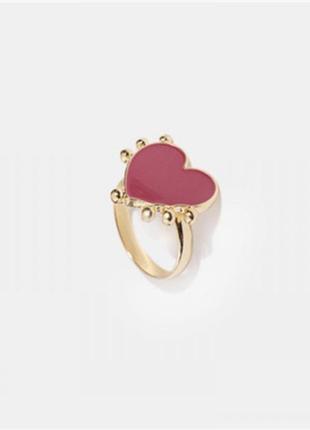 Кольцо красное сердце 1.6 см