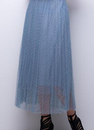 Легкая фатиновая юбка миди, в мелкий горох