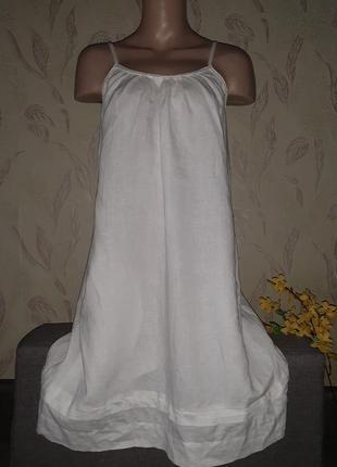 Льняное белое платье свободное, можно беременным с карманами