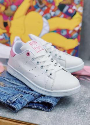 Шикарные женские кроссовки adidas stan smith white pink 😍 (вес...