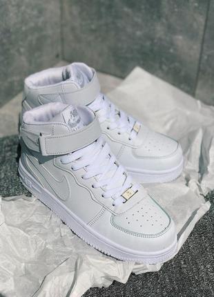 Шикарные женские белые кроссовки nike air force 1 high black 😍...