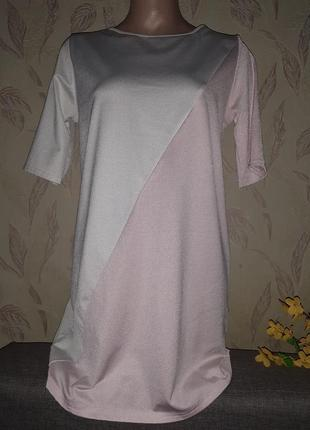 Платье футболка с серебром двух цветная, новогоднее.
