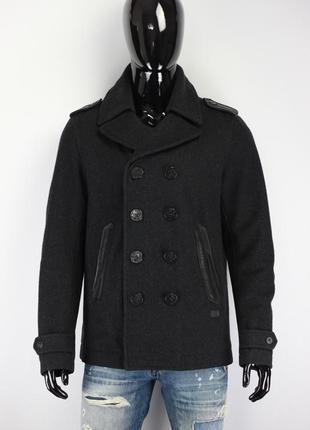 Шерстяное двубортное пальто