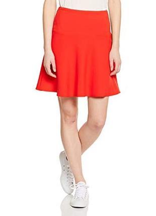 Яркая трикотажная юбка вискоза, benetton, цвет оранжево красный