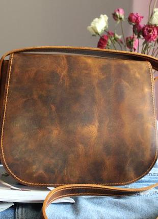 Женская сумка седло с карманом на молнии из натуральной кожи b...