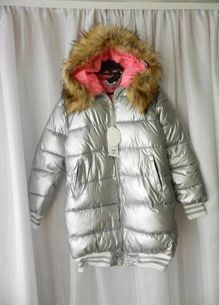 ✅ дутая удлинённая куртка матовое серебро с опушкой на капюшон...