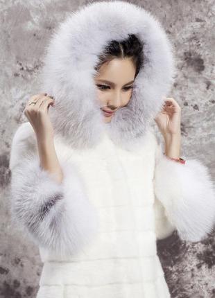 Женский зимний полушубок из искусственной норки и меха кролика