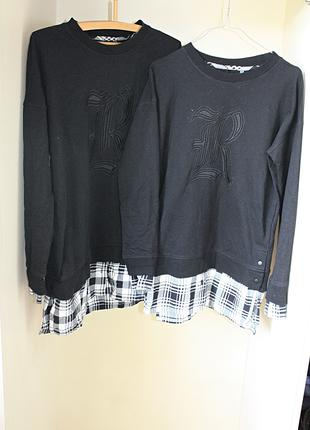 Удлиненный свитшот-двойка с рубашкой в клетку (туника) черный nex