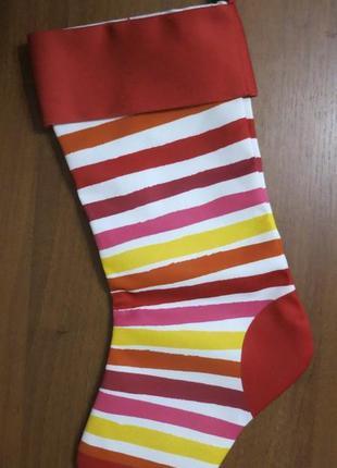 Украшение новогодний носочек носок мешок для подарков санта кл...