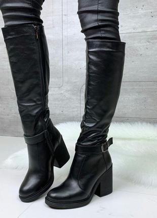 Зимние сапоги из натуральной кожи на каблуке