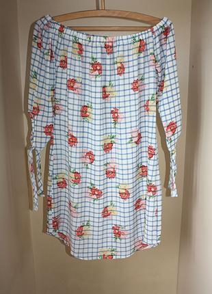 Платье со спущенными плечами на резинке в клетку принт рисунок в