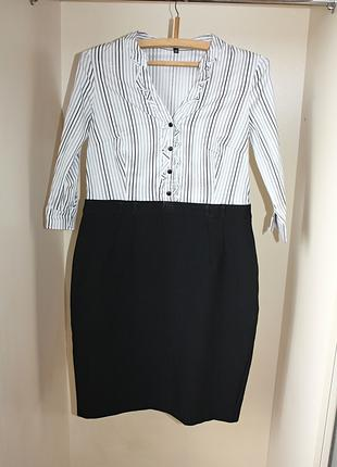 Черно-белое деловое офисное платье верх рубашка юбка карандаш р14