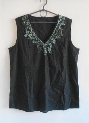 Летняя легкая блузка с вышивкой без рукавов цвет черный и белый